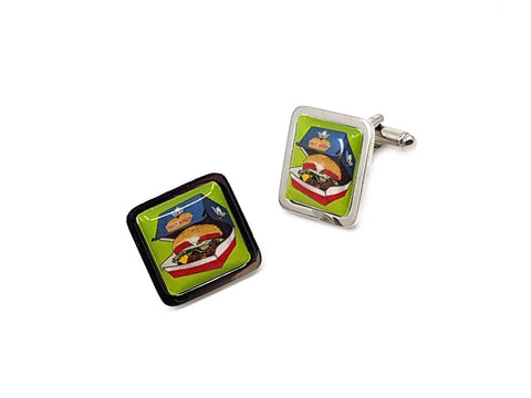 Burger square cufflinks