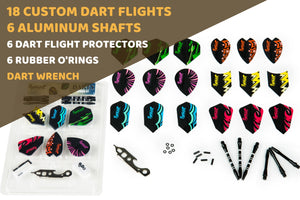 Sets of Different Shape Darts Flights, 6 Aluminum Shafts, 6 Rubber O'rings, and 6 Flights Protectors, Darts Accessories Kit