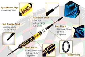 Professional Darts Set with Aluminum Shafts and Flights + Dart Sharpener + Innovative Case (22g Cursed Treasure)