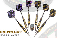 Load image into Gallery viewer, Professional Darts Set with Aluminum Shafts and Flights + Dart Sharpener + Innovative Case (26g Dark Avenger)
