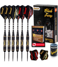 Load image into Gallery viewer, Professional Darts Set with Aluminum Shafts and Flights + Dart Sharpener + Innovative Case (20g Black Furry)