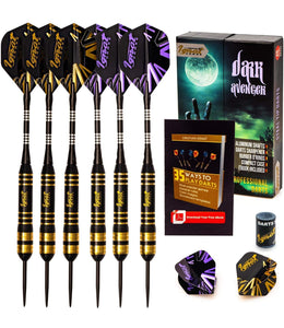 Professional Darts Set with Aluminum Shafts and Flights + Dart Sharpener + Innovative Case (26g Dark Avenger)