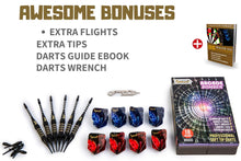 Load image into Gallery viewer, Soft Tip Darts for Electronic Dart Board - Aluminum Shafts with O'rings, Extra Tips and Extra Flights + Dart Wrench + Innovative Case (18g Arcade Bomber)