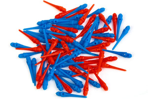 Soft Dart Tips Set - 100 Pack Plastic Darts Tips (50 Blue Dart Points & 50 Red Darts Points), 2BA Thread
