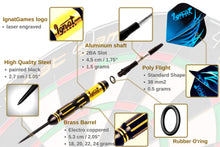 Load image into Gallery viewer, Professional Darts Set with Aluminum Shafts and Flights + Dart Sharpener + Innovative Case (Mega Blast)
