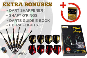 Professional Darts Set with Aluminum Shafts and Flights + Dart Sharpener + Innovative Case (20g Black Furry)