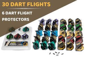 10 Sets of Different Slim Shape Darts Flights and 6 Flights Protectors, Darts Accessories Kit
