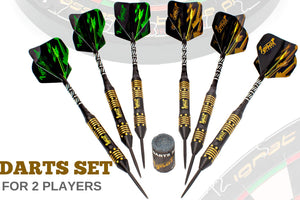 Professional Darts Set with Aluminum Shafts and Flights + Dart Sharpener + Innovative Case (24g Poison Arrow)