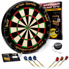 Load image into Gallery viewer, Bristle/Sisal Tournament Dartboard with Complete Staple-Free Ultra Thin Wire Spider + 6 Steel Tip Darts + Darts Measuring Tape + Darts Guide