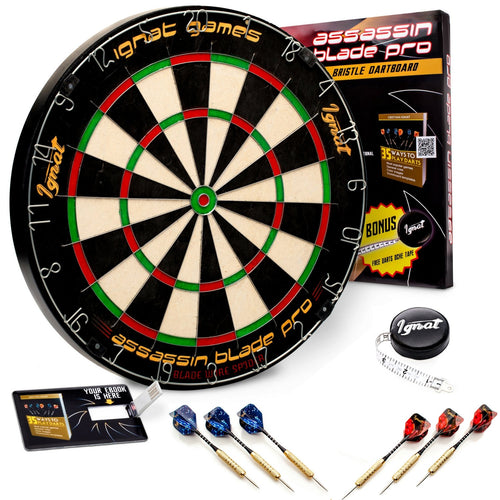 Bristle/Sisal Tournament Dartboard with Complete Staple-Free Ultra Thin Wire Spider + 6 Steel Tip Darts + Darts Measuring Tape + Darts Guide