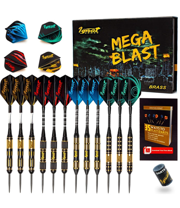 Professional Darts Set with Aluminum Shafts and Flights + Dart Sharpener + Innovative Case (Mega Blast)