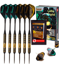 Load image into Gallery viewer, Professional Darts Set with Aluminum Shafts and Flights + Dart Sharpener + Innovative Case (18g Gothic Crystal)
