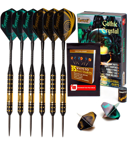 Professional Darts Set with Aluminum Shafts and Flights + Dart Sharpener + Innovative Case (18g Gothic Crystal)