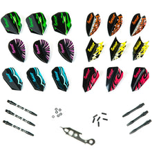 Load image into Gallery viewer, Sets of Different Shape Darts Flights, 6 Aluminum Shafts, 6 Rubber O'rings, and 6 Flights Protectors, Darts Accessories Kit