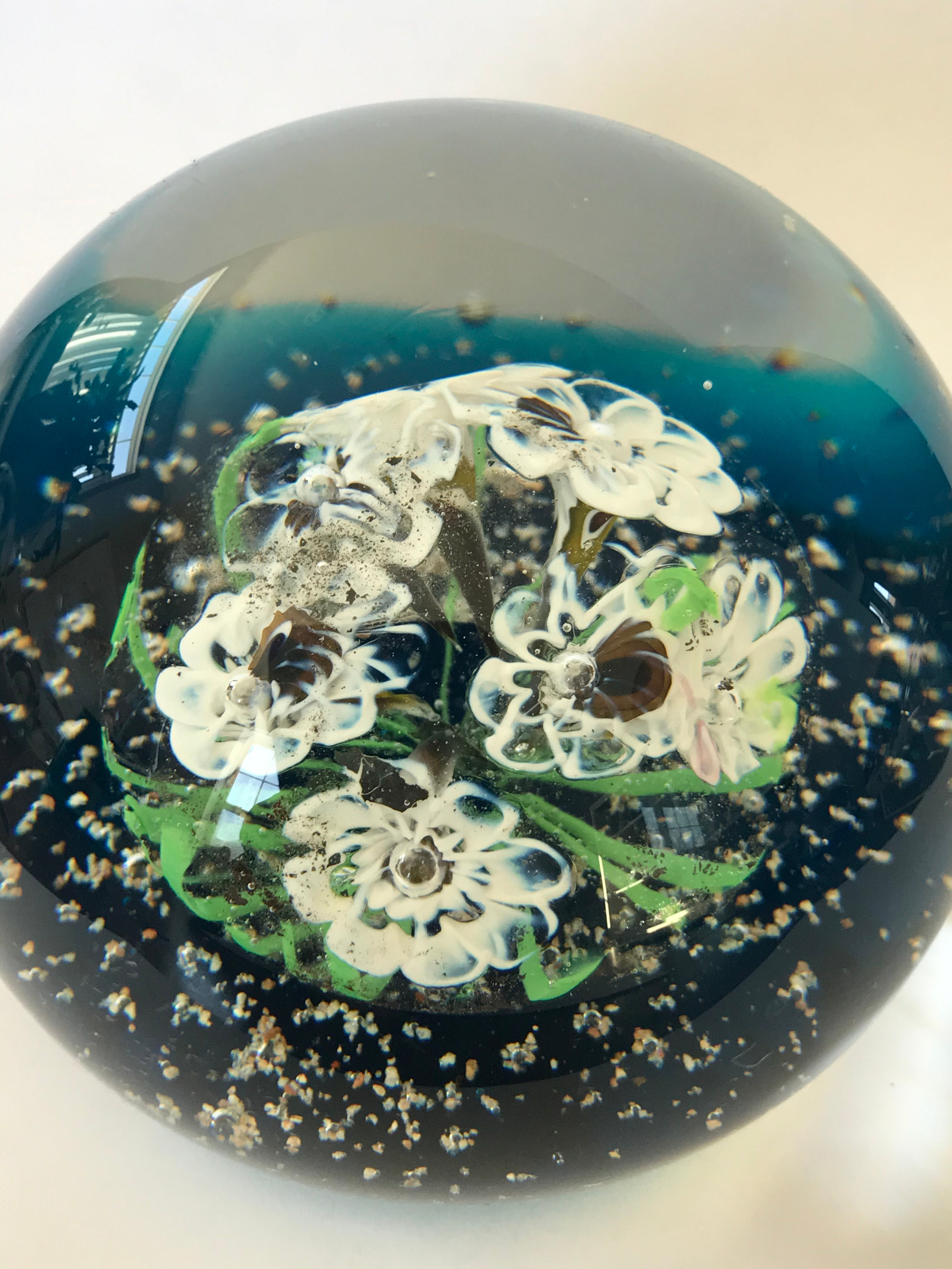 Murano White and Blue Bouquet Paperweight