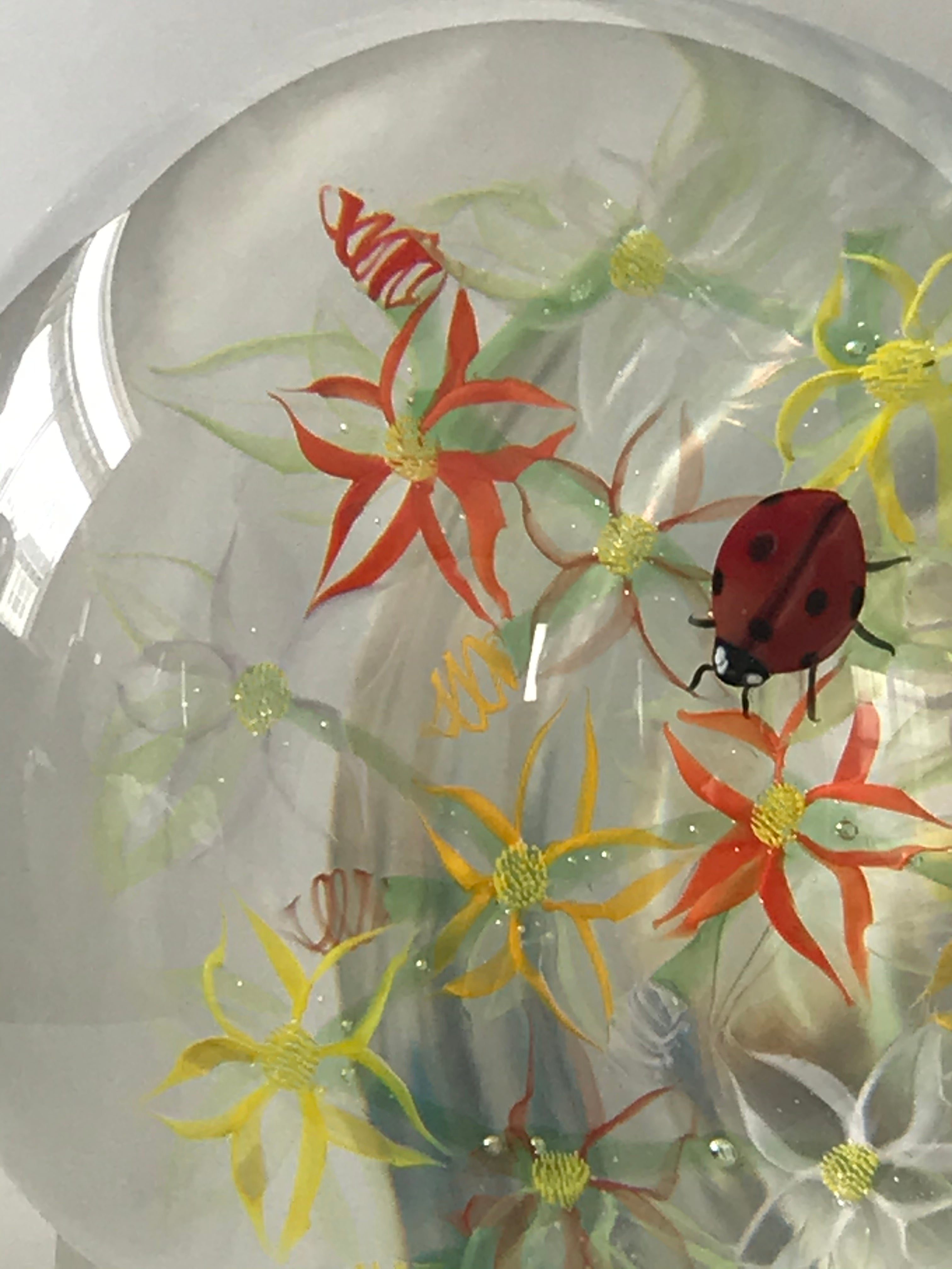 Richard Loesel unique  Transparent flowers Paperweight