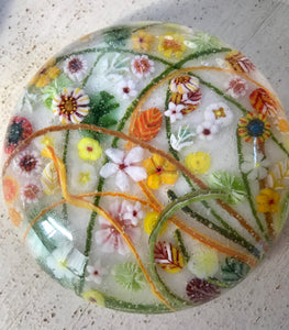 Fused glass Paperweight by Jennifer Power - Fall Colors