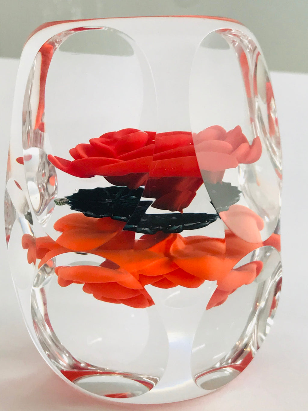 A Richard Loesel double crimp rose paperweight - Red and Orange
