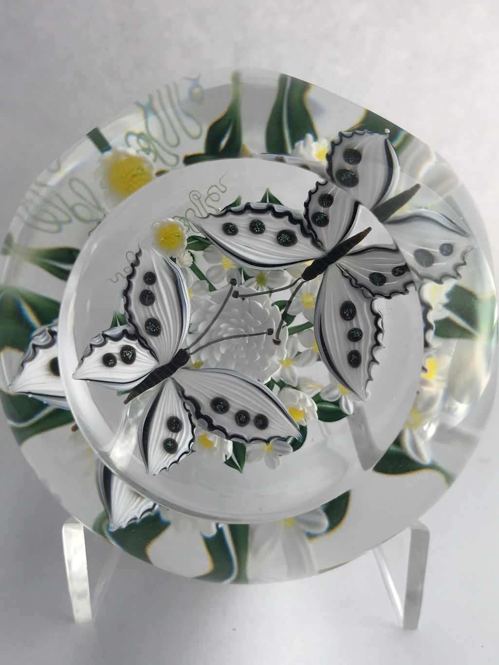 A Richard Loesel Double White Butterfly Paperweight