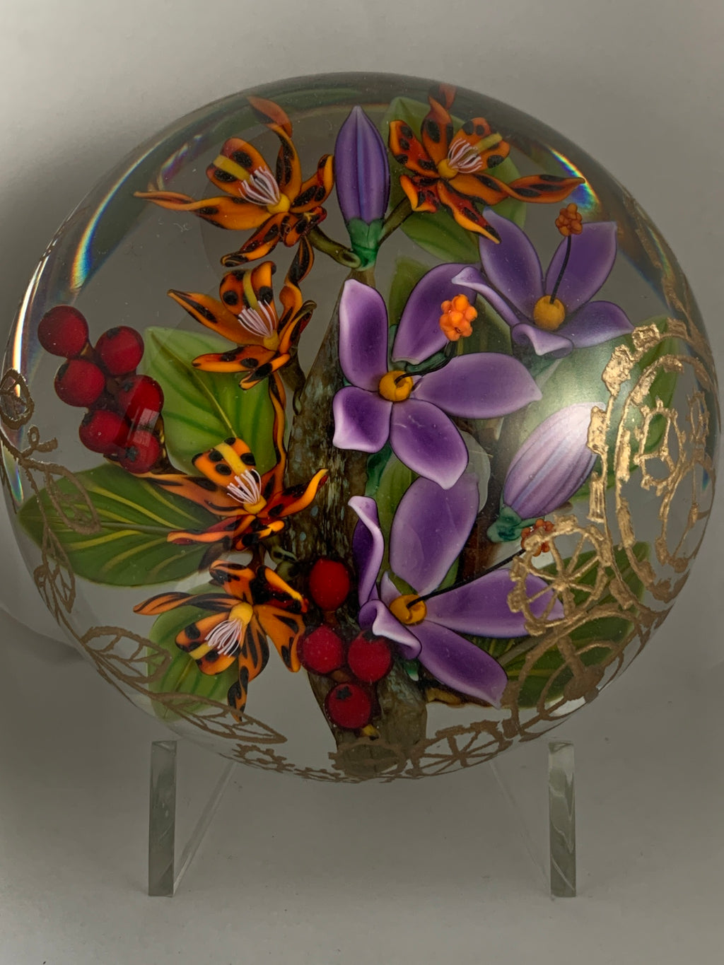 Colin Richardson Tiger lilies engraved paperweight
