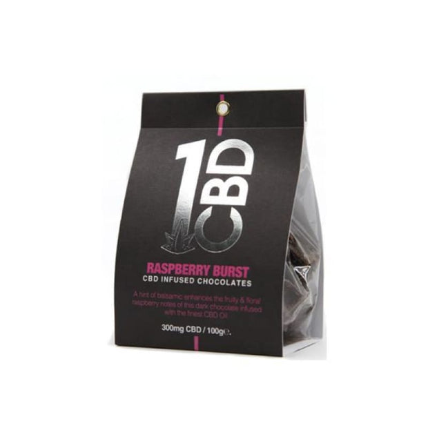 1CBD CBD infused Chocolate 300mg CBD 100g - Raspberry Burst