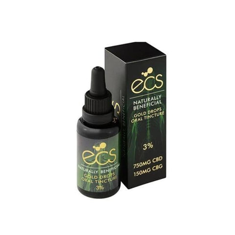 ECS Gold Drops 3% 750mg CBD + 150mg CBG Oil 30ML - CBD