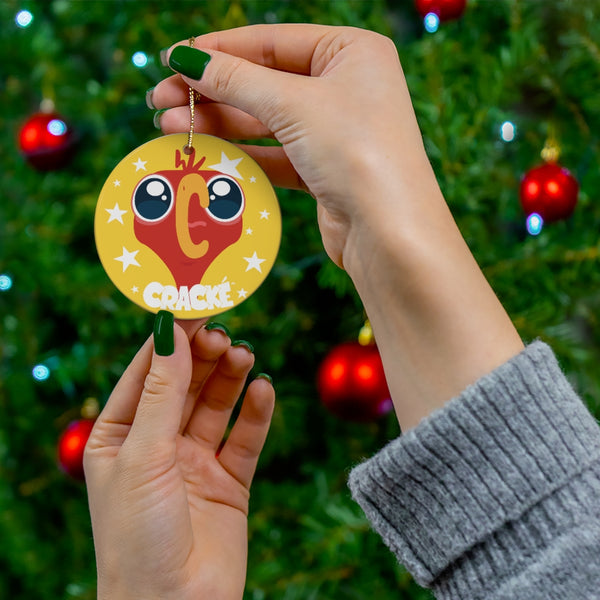 Cracké Holidays Screaming EDmoji Ceramic Ornament