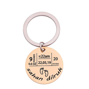 Personalized Baby Birth Commemorative Key Chain
