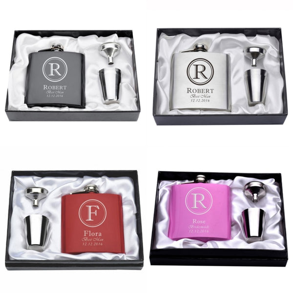 Personalized Flask set for Bridesmaids/Groomsmen