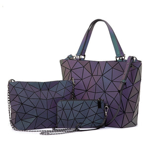 Luminous geometric shoulder bags and wristlet  - 3 piece set