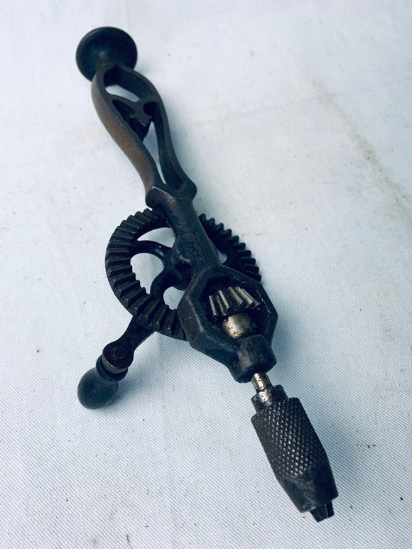 RARE SMALL 8INS CAST IRON EGGBEATER HAND DRILL - Boyshill Tools and Treen