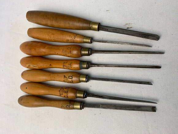 7 BOXWOOD CARVING CHISELS VARIOUS MAKERS - Boyshill Tools and Treen