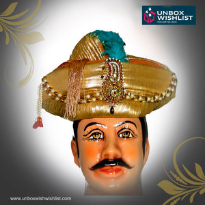 Golden Maratha Bajirao Peshwa Groom Paghdi / Turban / Headgear