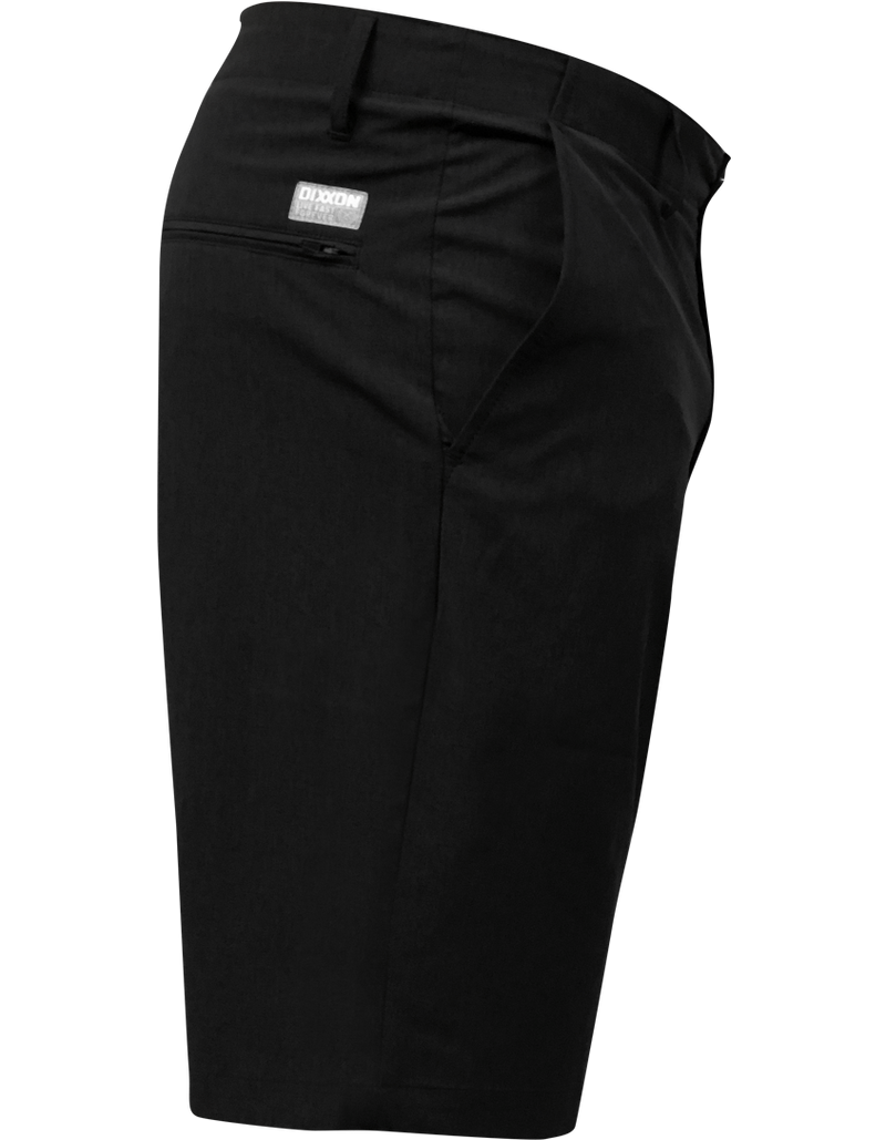DIXXON HYBRID CHINO SHORTS BLACK SIDE