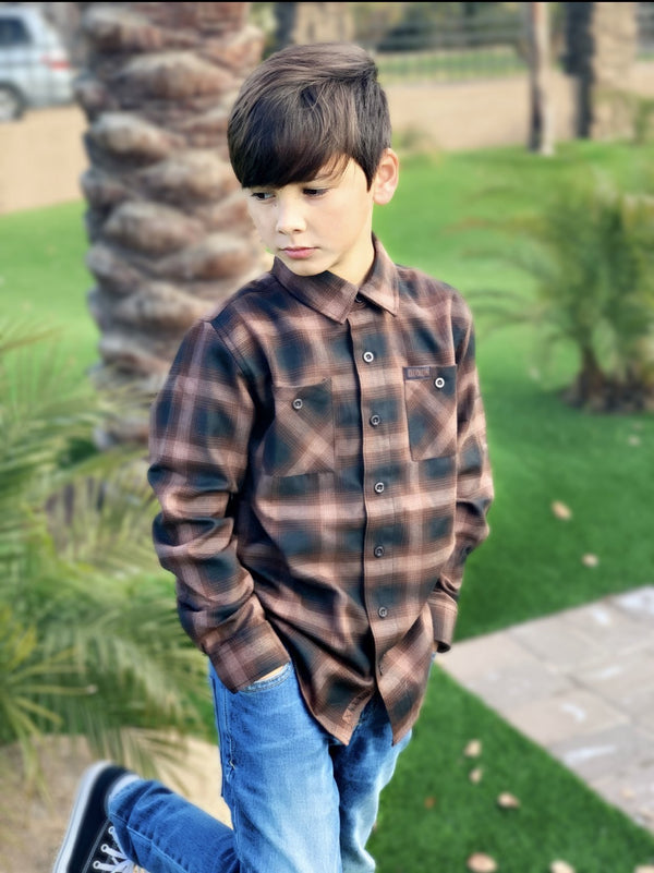 DIXXON YOUTH BOURBON FLANNEL ON MODEL