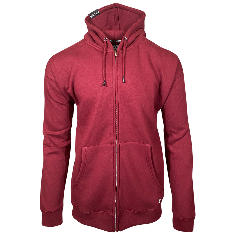 DIXXON PLAIN PERFECT ZIP HOODIE BURGUNDY- MENS