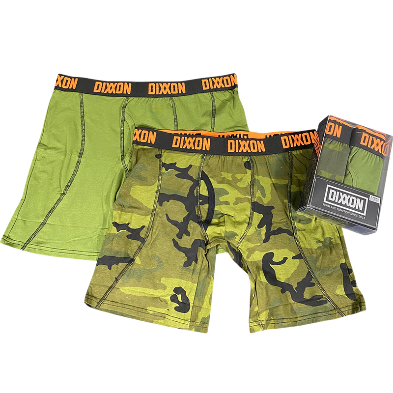 2PK DIXXON STRETCH BOXER BRIEFS CAMO/GREEN