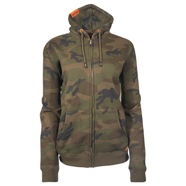 DIXXON PLAIN PERFECT ZIP HOODIE CAMO - WOMENS