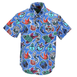 DIA SHORT SLEEVE BUTTON UP BLUE - YOUTH