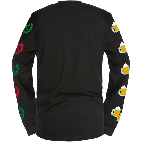 POUNDING BEER LONGSLEEVE T-SHIRT BLACK - MENS