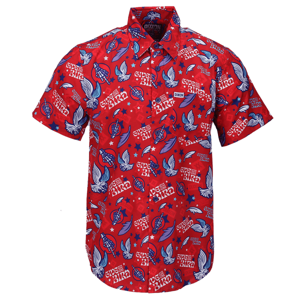 GIVE EM THE BIRD SHORT SLEEVE BUTTON UP - MENS