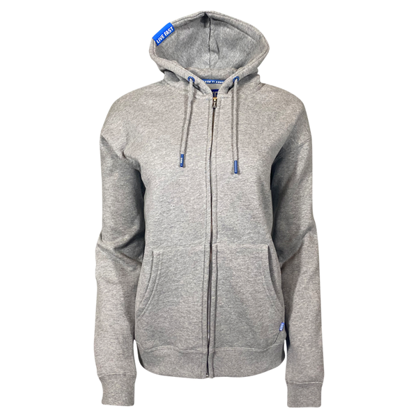 DIXXON PLAIN PERFECT ZIP HOODIE HEATHER GREY - WOMENS