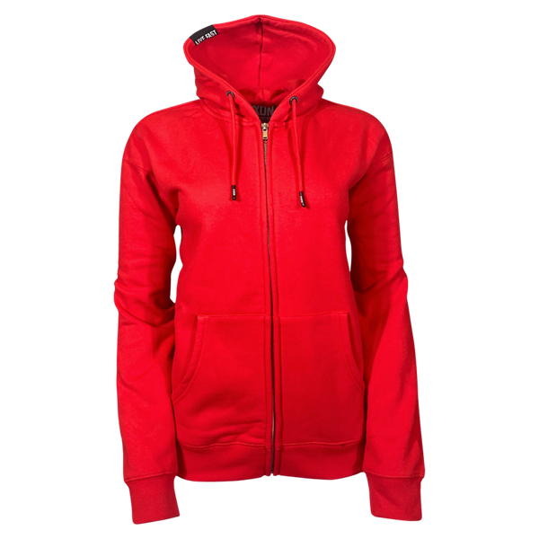 DIXXON PLAIN PERFECT ZIP HOODIE RED - WOMENS