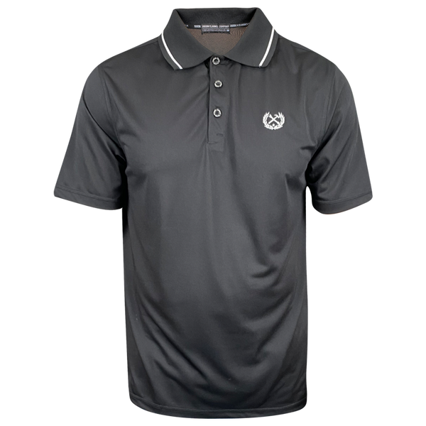 DIXXON PERFORMANCE POLO BLACK/WHITE STRIPE - MENS