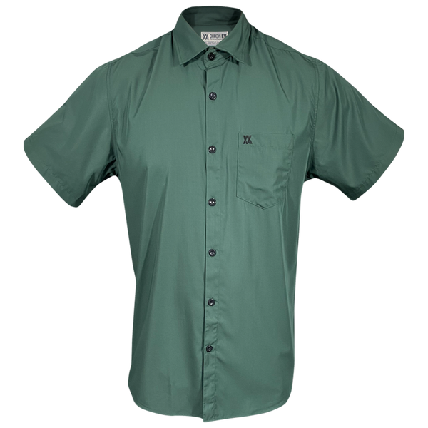 BAMBOO SHORT SLEEVE BUTTON UP DARK GREEN 2.0 - MENS