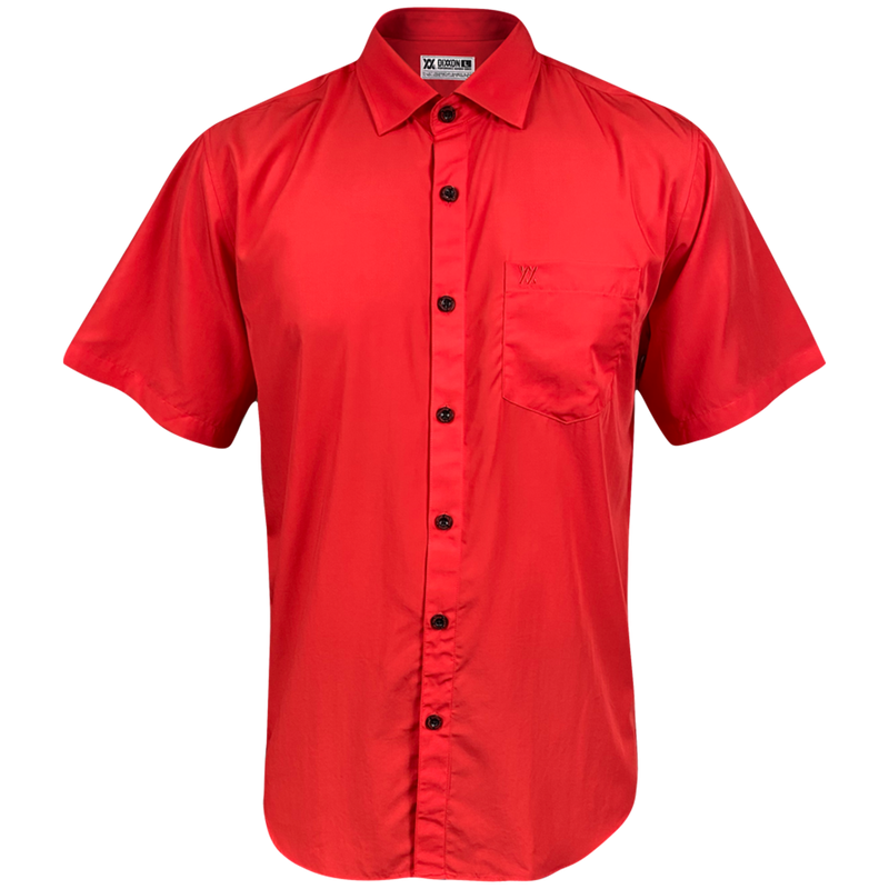 BAMBOO SHORT SLEEVE BUTTON UP RED 2.0 - MENS