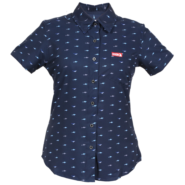 SHARK SHORT SLEEVE BUTTON UP - WOMENS