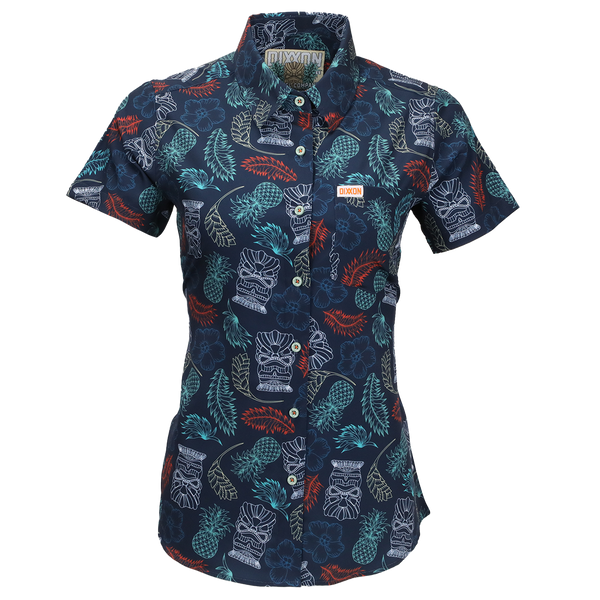TIKI TIME SHORT SLEEVE BUTTON UP - WOMENS
