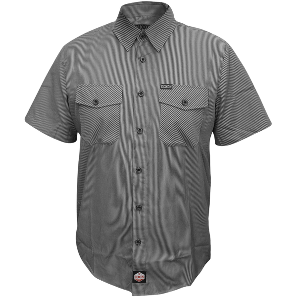 WORKFORCE SHORT SLEEVE BUTTON UP BLUE-GREY STRIPED - MENS