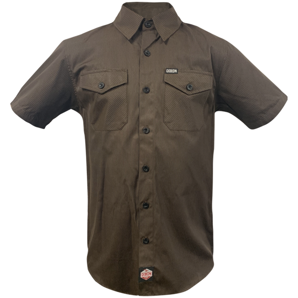 WORKFORCE SHORT SLEEVE BUTTON UP BROWN-BLACK STRIPED - MENS